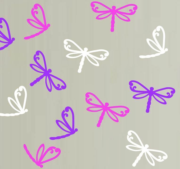Set of 12 mixed dragonfly wall stickers removable ebay for Dragonfly mural