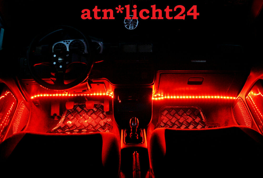 2x fu raumbeleuchtung rot red car led leiste 33 5cm 18xsmd cm 12v selbstklebend ebay. Black Bedroom Furniture Sets. Home Design Ideas