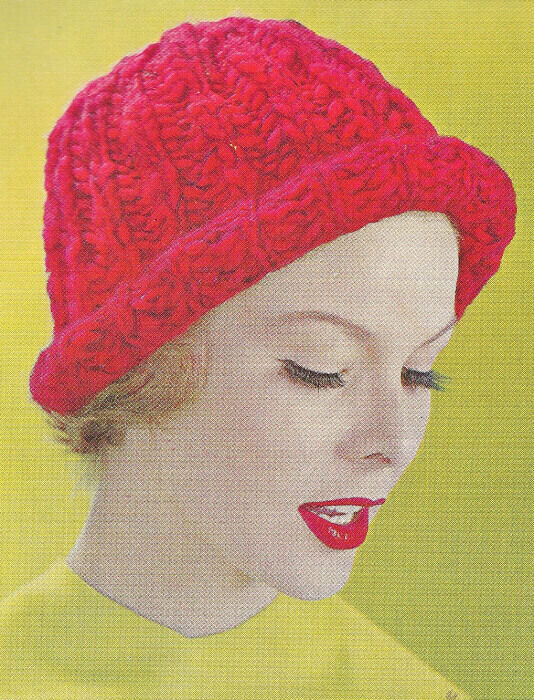 Free Knitting Pattern Hat Bulky Yarn : Vintage Knitting PATTERN Bulky Knit Beanie Hat Cap Snow eBay
