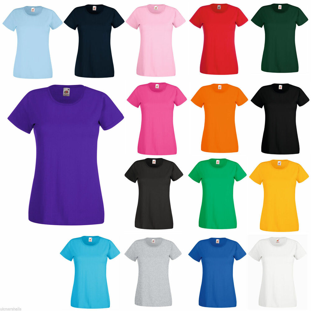 fruit of the loom ladies t shirt lady fit 12 colours ebay. Black Bedroom Furniture Sets. Home Design Ideas