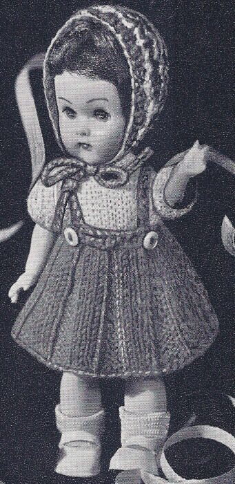 Vintage Knitting Patterns Dolls Clothes : Vintage Knitting PATTERN to make 8