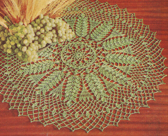 Vintage Crochet Pattern Wheat Grape Doily Centerpiece Ebay