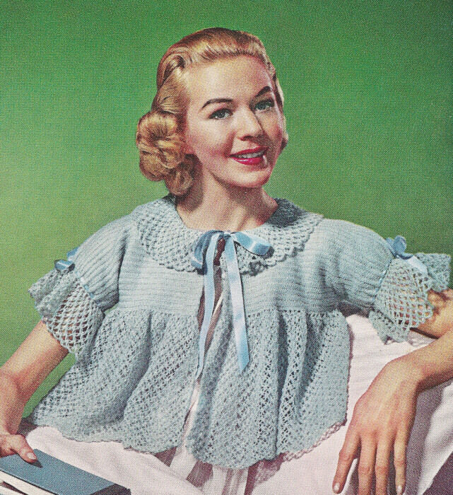 Knitting Nancy Vintage : Vintage crochet pattern to make bed jacket shorty crop top