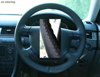 FITS AUDI A6 (95-04) BLACK REAL ITALIAN LEATHER STEERING WHEEL COVER