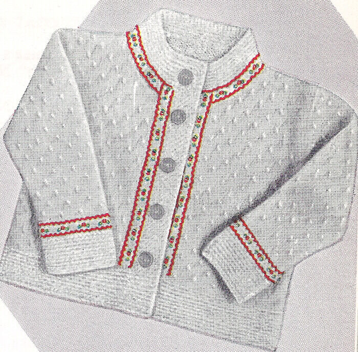 Sweater Coat Knitting Pattern : Knitting PATTERN Baby Cardigan Sweater Coat Ribbon Trim eBay