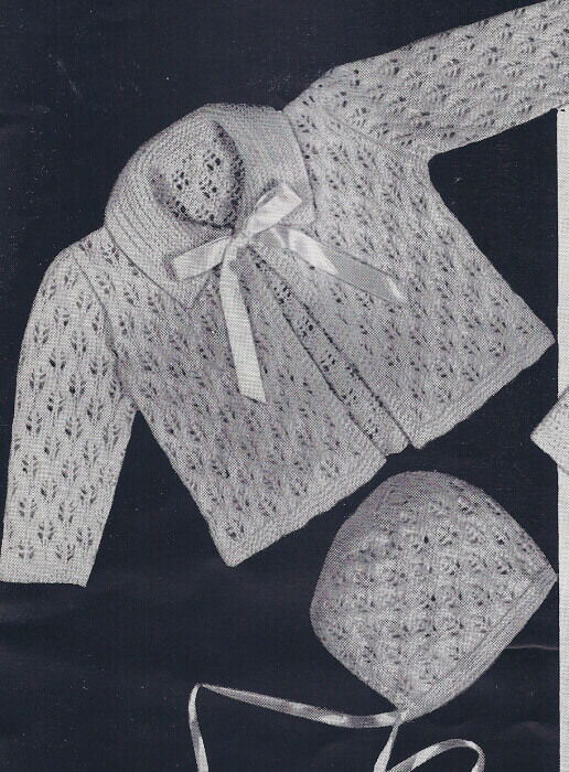 Knitting Pattern Baby Lacy Sacque Sweater Hat Bonnet Ebay