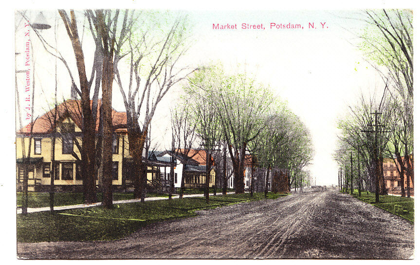 a view of the homes on market street potsdam ny 1908 ebay. Black Bedroom Furniture Sets. Home Design Ideas
