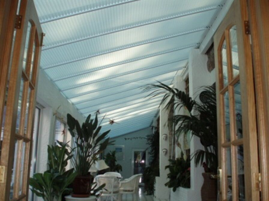 Pleated Roof Lean To Conservatory White Amp Cream Blinds Ebay