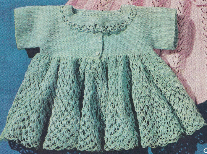 Vintage Crochet Baby Dress Pattern : Vintage Crochet PATTERN to make Thread Baby Sacque Sweater ...