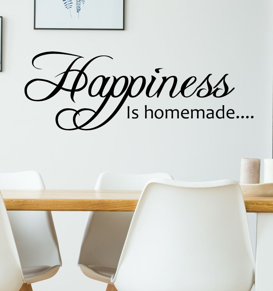 Happiness is homemade wall quote decal sticker kitchen for Kitchen quote decals