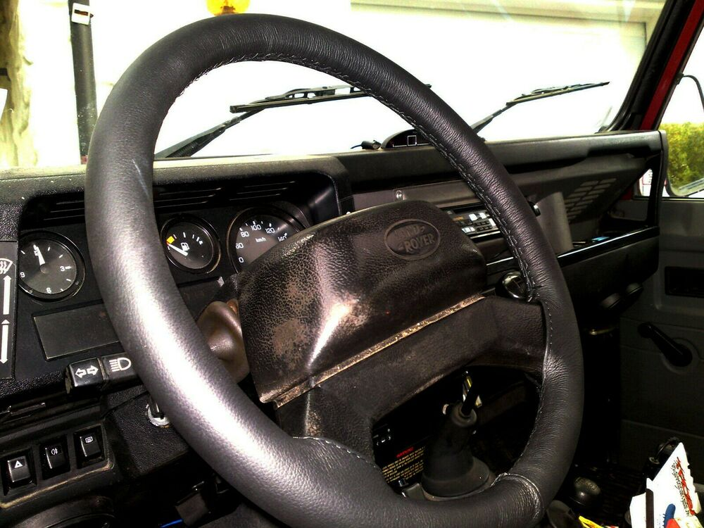 FITS LAND ROVER DEFENDER 1990+ REAL BLACK ITALIAN LEATHER ...