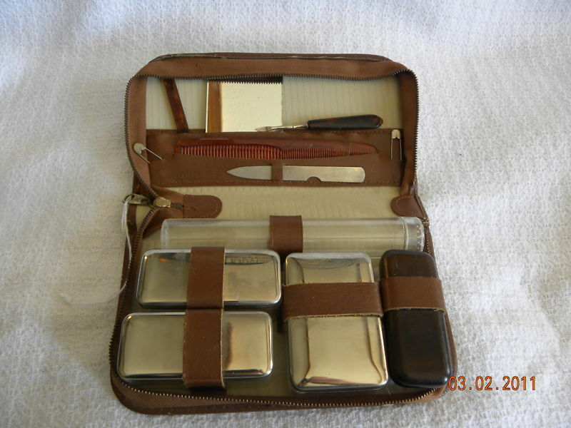 Vintage Leather Travel Vanity Mens Grooming Case Ebay