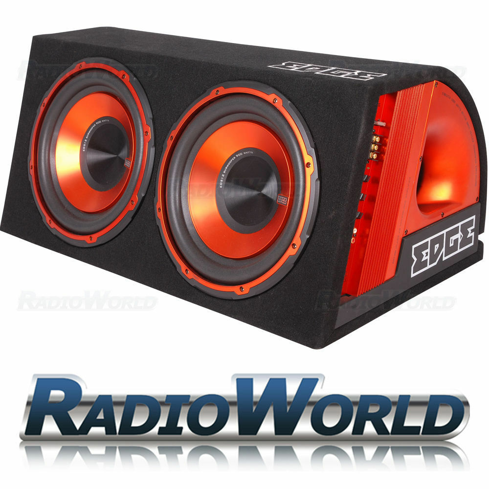 "1800W EDGE 12"" Twin Active Sub Subwoofer Boom Box & Amp"