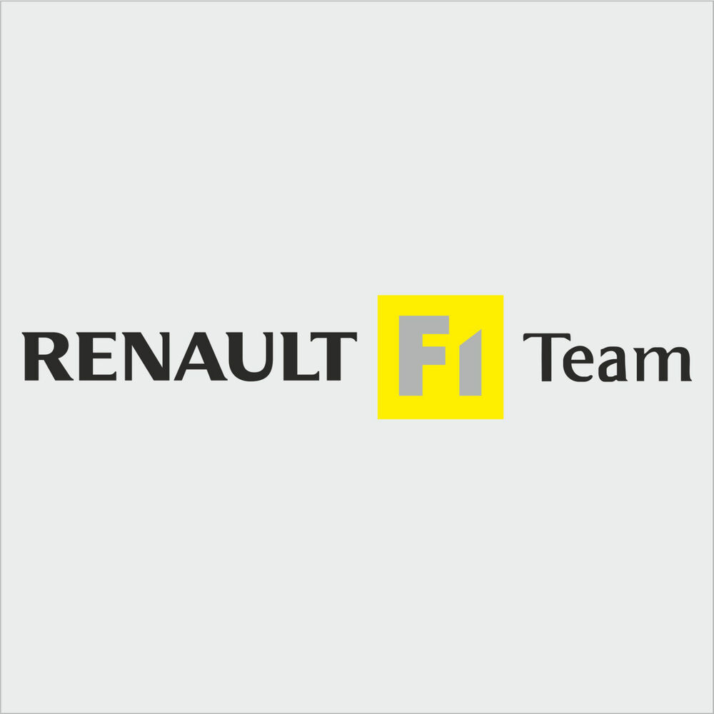 1 x renault f1 team sticker decal new style black text. Black Bedroom Furniture Sets. Home Design Ideas