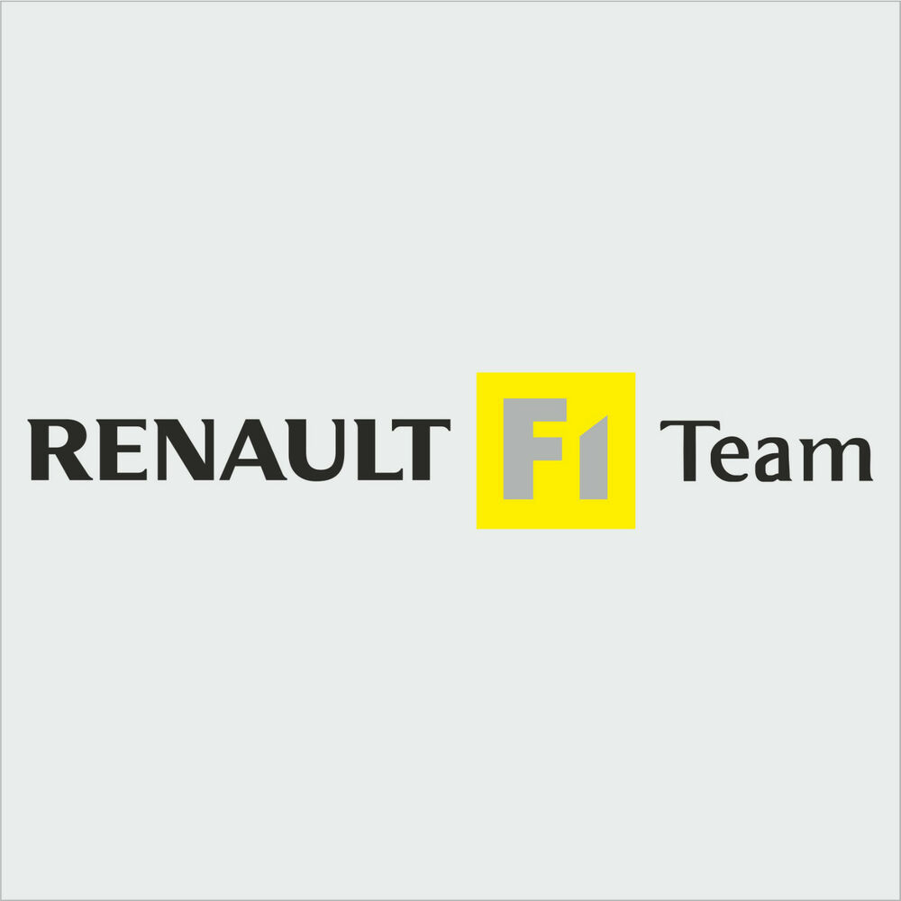 1 x renault f1 team sticker decal new style black text clio megane sport ebay. Black Bedroom Furniture Sets. Home Design Ideas