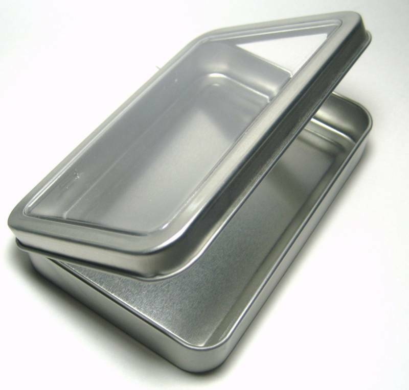 Blank clear lid metal tin box survival kit container 1 ebay for Small tin containers