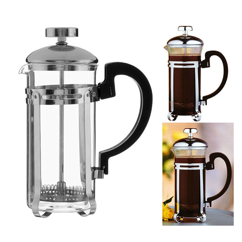 kona chrome cafetiere coffee maker french press heat resistant glass 2 cup 350ml ebay. Black Bedroom Furniture Sets. Home Design Ideas