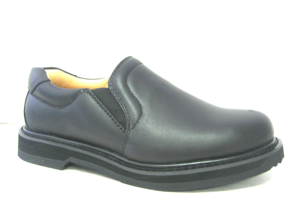 vegace black leather shoe loafer work restaurant