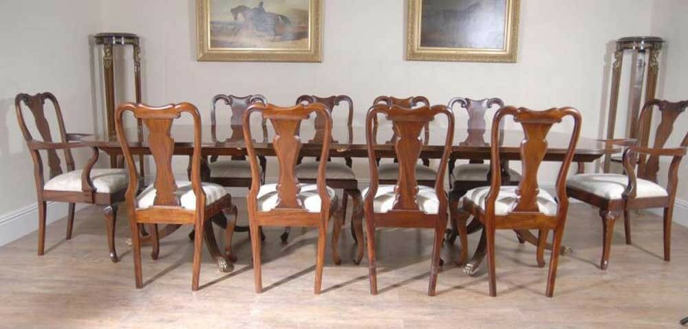 Regency Table Set Queen Anne Chairs Dining Suite EBay
