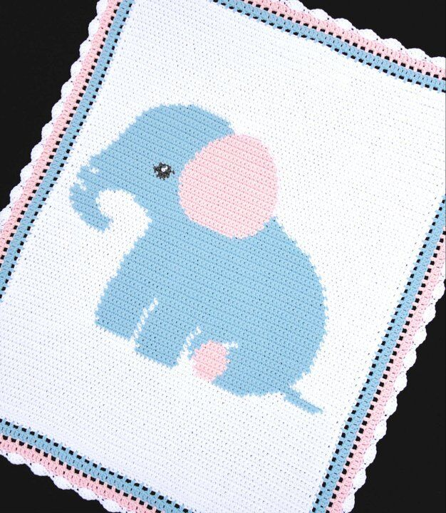 Elephant Blanket Knitting Pattern Free : ELEPHANT Baby Afghan Graph Crochet Pattern *EASY eBay