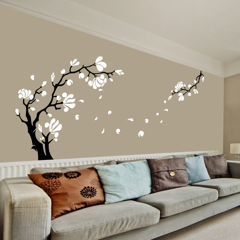 Magnolia flower tree wall art stickers wall decals ebay for Decoration murale 1 wall