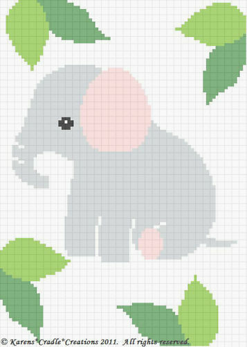 Free Crochet Baby Blanket Graph Patterns : ELEPHANT Baby Afghan Graph Crochet Pattern *EASY eBay