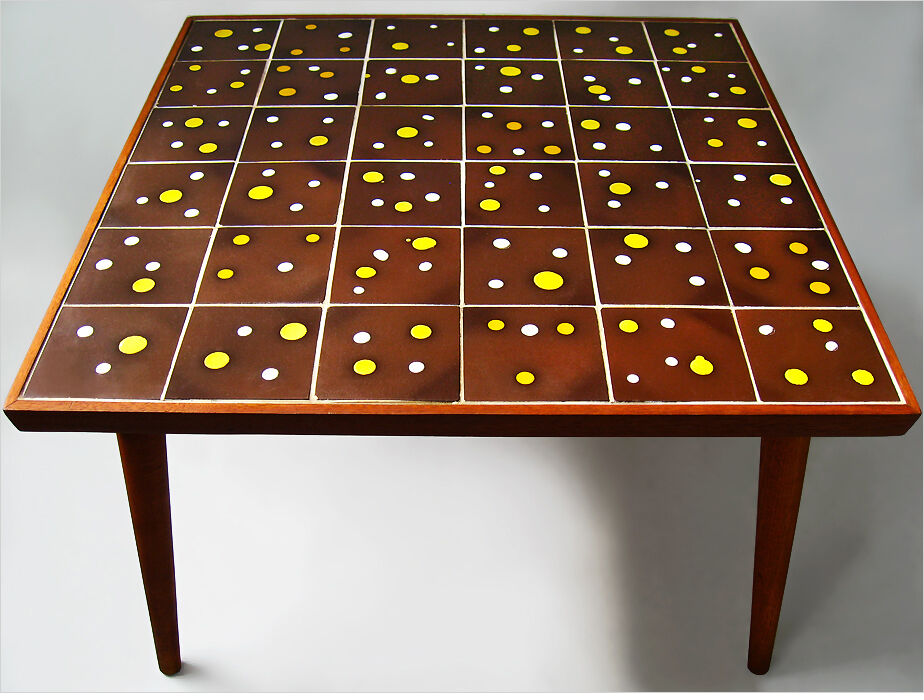 1950 Mid Century Teak Wood Mosaic Tile Top Coffee Table