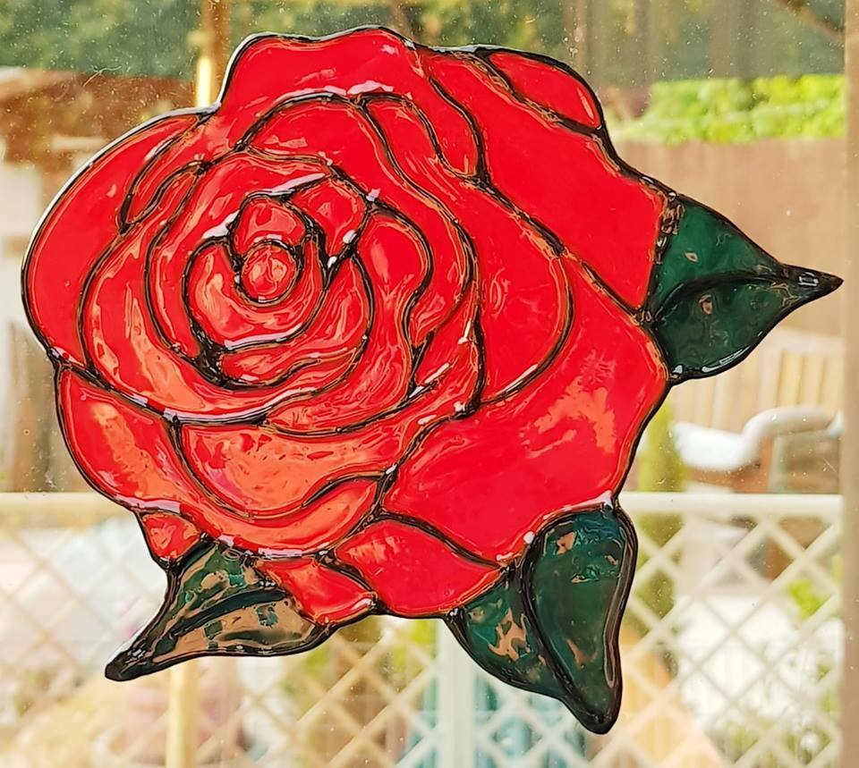 Rose Stained Glass Effect Window Cling Decal Door Film