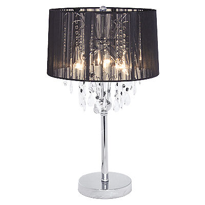 18 Pc Crystal Chandelier Table Lamp Black Lace Shade Ebay