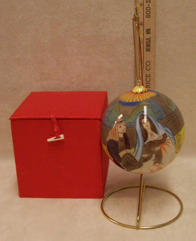 Nativity At Night Glass Ball Religious Christmas Ornament: LARGE CHRISTMAS ORNAMENT NATIVITY SCENE RED SATIN BOX