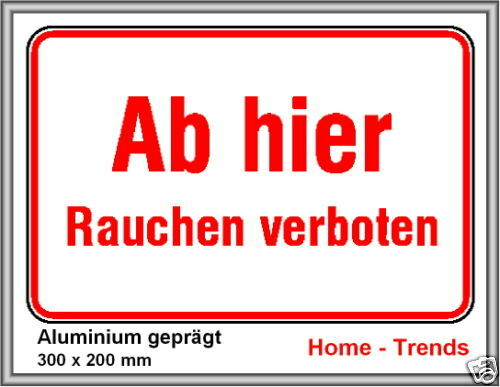 rauchverbot schild schilder warnschild t rschild 30x20c ebay. Black Bedroom Furniture Sets. Home Design Ideas