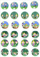 BEN AND HOLLY EDIBLE RICE PAPER FAIRY CUPCAKE CAKE PHOTO RICE PAPER TOPPERS x 24