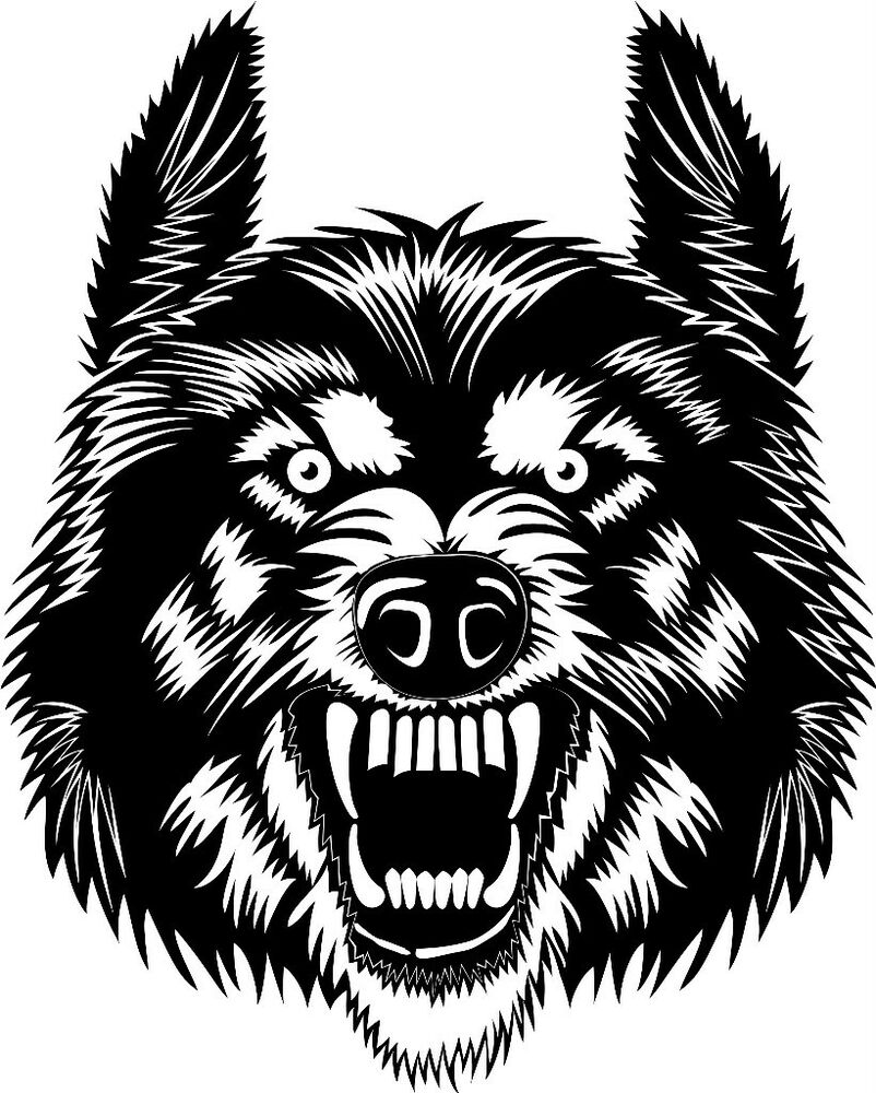 SCARY ANGRY WOLF FACE CAR DECAL STICKER   eBay