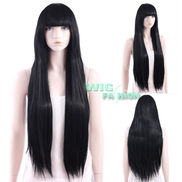 Long Black Wig With Bangs Neopets - Realistic Lace Front Wig