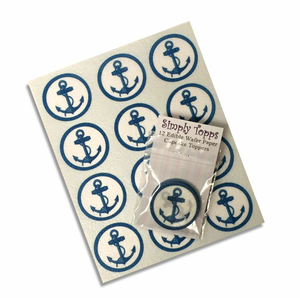 Nautical Cake Decorations Uk : 12 Anchor Cupcake Decoration Rice paper cake Toppers Sea ...