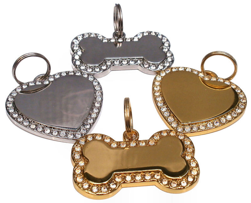 Personalised Diamante Bling Dog Pet Id Tag Bone Heart Any