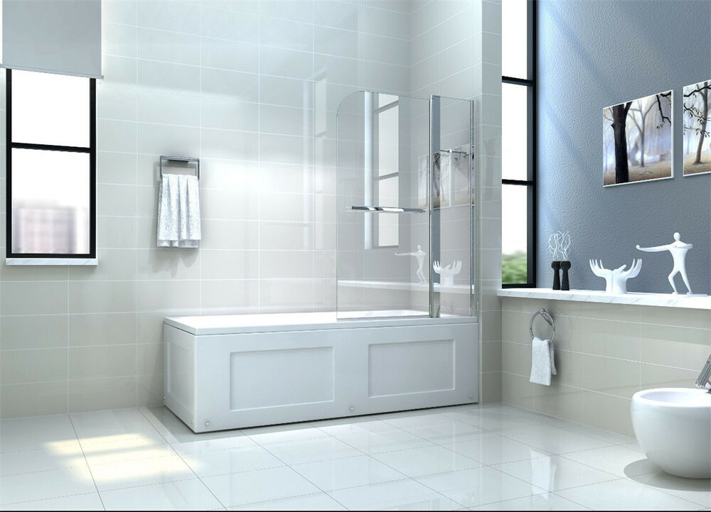 quality double over bath shower screen door 6mm glass ebay. Black Bedroom Furniture Sets. Home Design Ideas