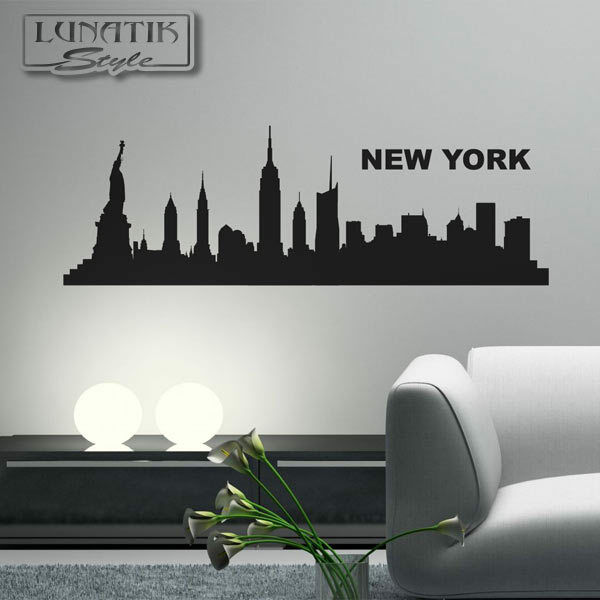 wandtattoo aufkleber skyline stadt new york klein wt18 ebay. Black Bedroom Furniture Sets. Home Design Ideas