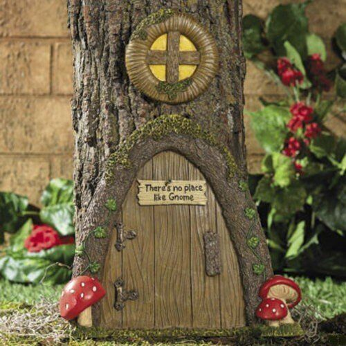 Garden gnome statue gnome tree stump door yard decor ebay for Outdoor garden doors