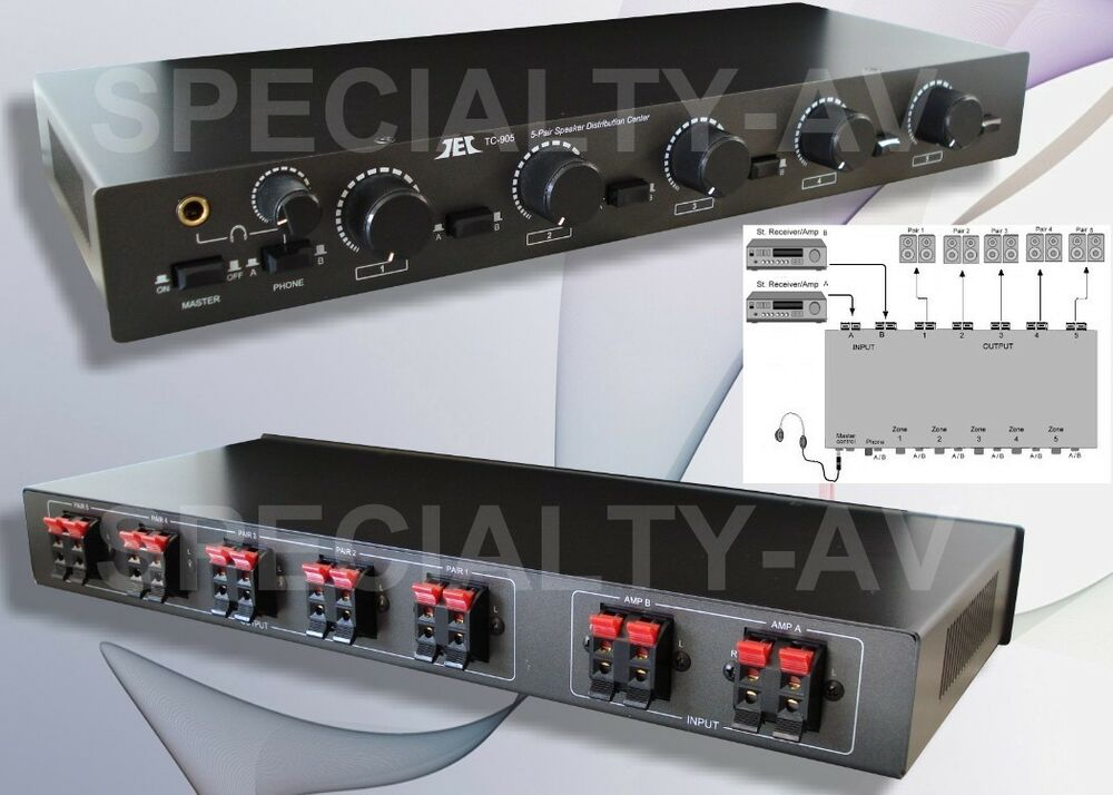 5zone 2amp Speaker Selector Switch Switcher With Level
