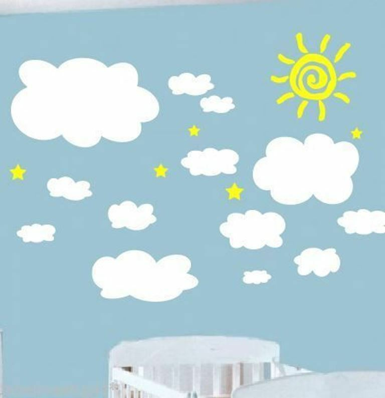 13 cloud wall stickers nursery baby room removable ebay for Clouds wall mural