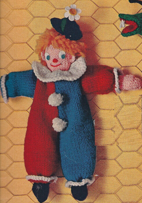 Vintage Knitting PATTERN to make Happy Clown Doll Toy Bean ...