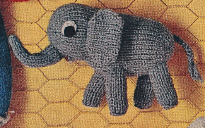 Vintage Knitting PATTERN Little Elephant Doll Toy 4