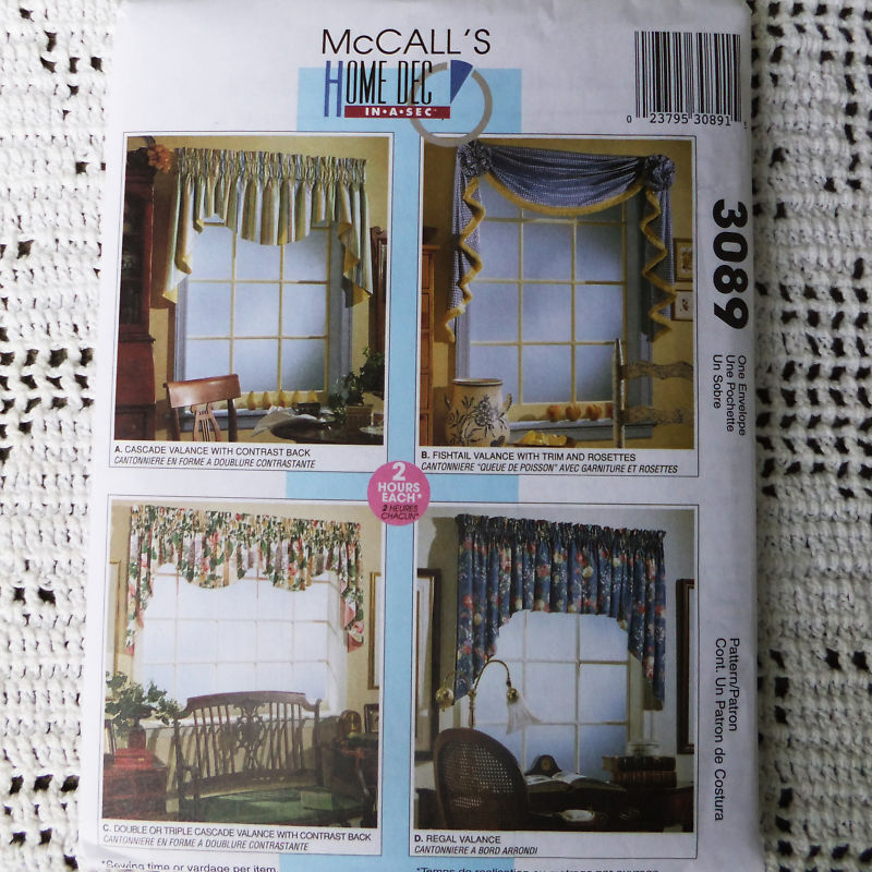 McCall's 3089 Valance Home Decor Window Treatments 2 Hour