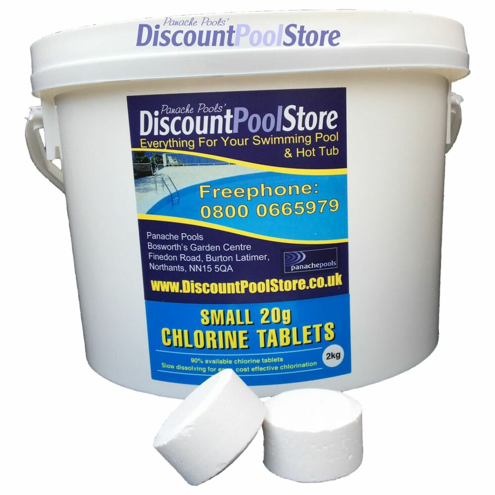 Small 20g chlorine tablets pool spa hot tub 2kg ebay for How to put chlorine in swimming pool