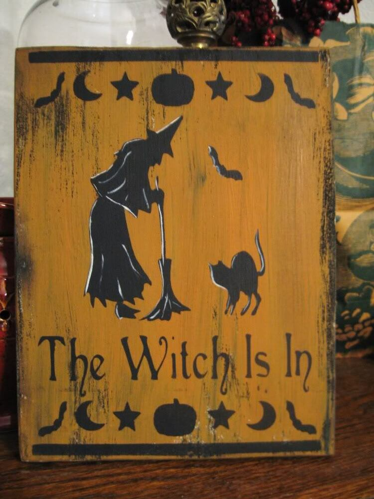 Primitive Halloween Sign The Witch Is In Black Cat Bat