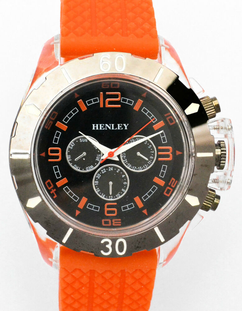 new henley mens big sports watches silicone ebay