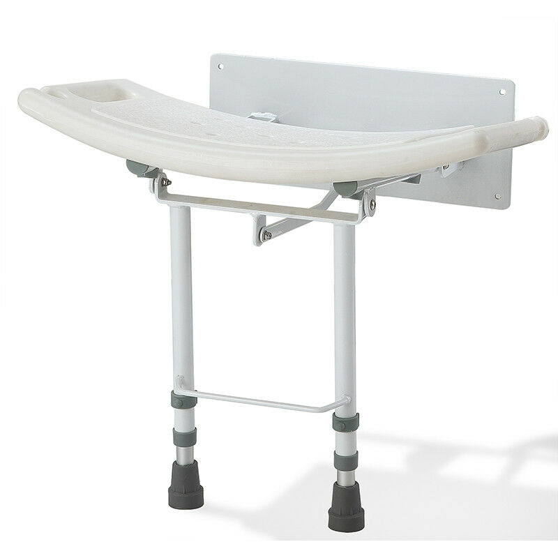 Wall Mounted Folding Fold Down Shower Seat Chair Adjustable Legs EBay