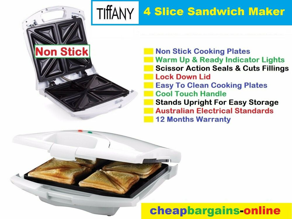 4 slice sandwich maker press grill jaffle iron toaster. Black Bedroom Furniture Sets. Home Design Ideas