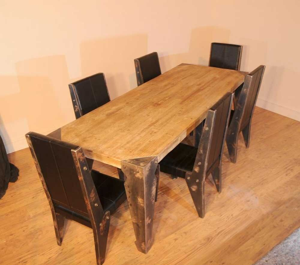 industrial dining table chair set vintage ebay. Black Bedroom Furniture Sets. Home Design Ideas